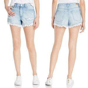Blank NYC Shorts - BLANK NYC Lace Eyelet-Trim High Rise Denim Shorts